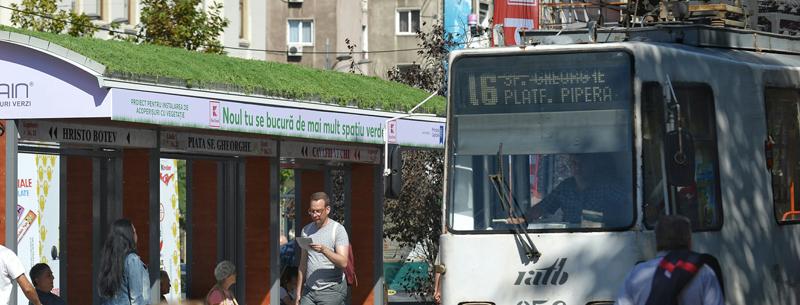 34 de statii de tramvai din Bucuresti vor fi acoperite cu vegetatie pana la mijlocul lunii octombrie