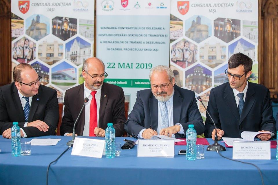 A fost semnat contractul pentru desemnarea staţiilor de transfer a gunoiului din județul Iaşi