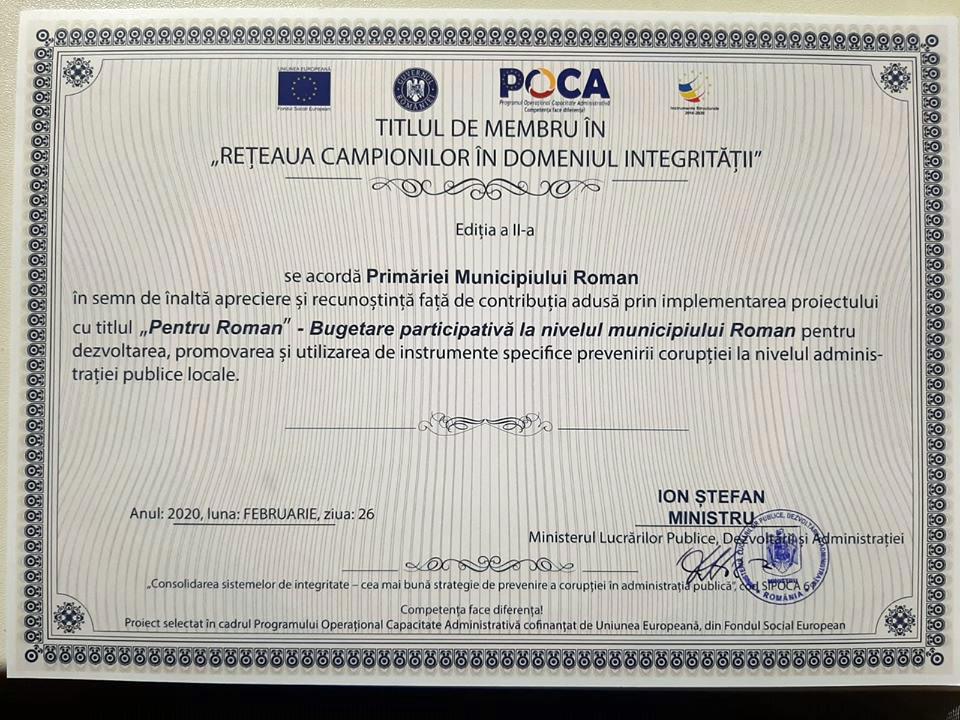 """Municipiul Roman – membru în """"Rețeaua campionilor în domeniul integrității"""""""