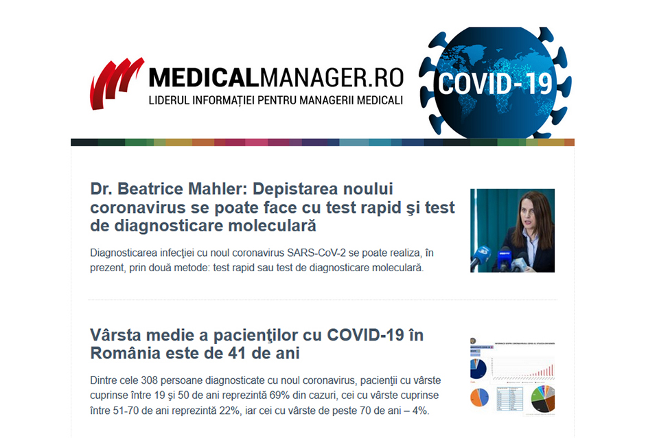 Secțiune specială de știri și newsletter dedicat pandemiei COVID-19 pe portalul MedicalManager.ro