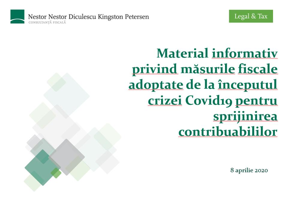 Material informativ privind măsurile fiscale adoptate de la începutul crizei Covid19 pentru sprijinirea contribuabililor