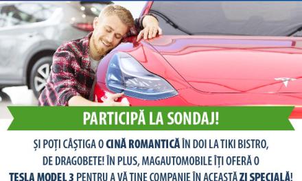 Ce loc ocupă mașina in inima ta? Participă la sondajul MagAutomobile și o Tesla Model 3 te poate acompania la o cină în doi, de Dragobete!