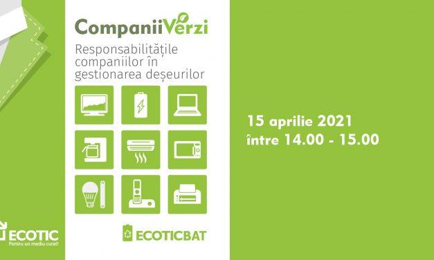 """""""Responsabilitățile companiilor în gestionarea deșeurilor"""" – tema webinarului """"Companii verzi"""" din 15 aprilie"""