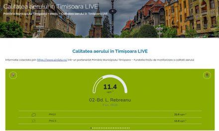 Calitatea aerului din Timişoara este afișată în direct pe pagina web a primăriei